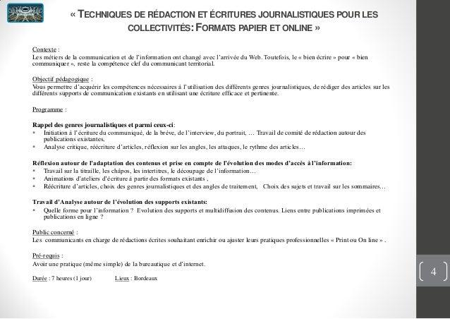 « TECHNIQUES DE RÉDACTION ET ÉCRITURES JOURNALISTIQUES POUR LESCOLLECTIVITÉS:FORMATS PAPIER ET ONLINE »Contexte :Les métie...