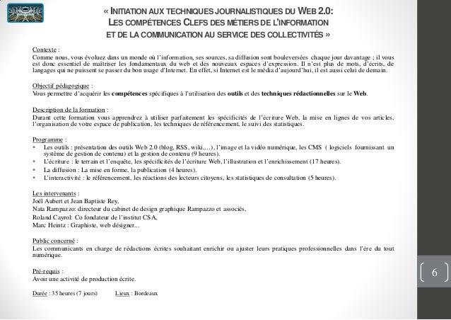 « INITIATION AUX TECHNIQUES JOURNALISTIQUES DU WEB 2.0:LES COMPÉTENCES CLEFS DES MÉTIERS DE L'INFORMATIONET DE LA COMMUNIC...