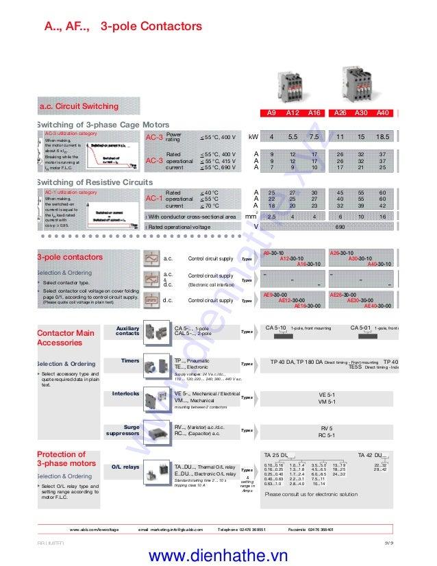 catalogue thiet bi dien abb contactor abb dienhathe vnAbb A26 30 10 Contactor Wiring Diagram #15