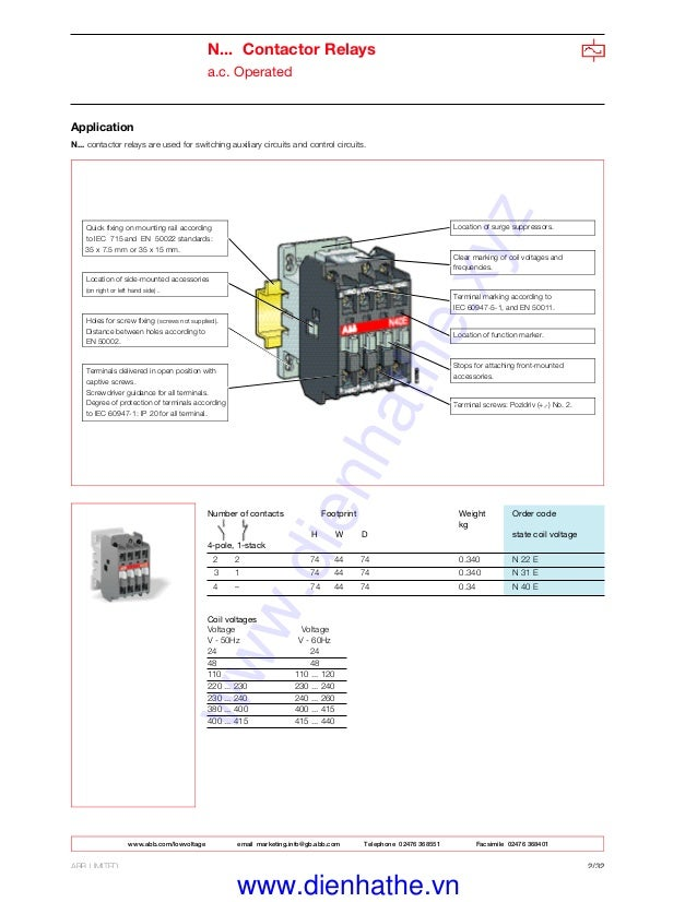 [DVZP_7254]   Catalogue thiet bi dien abb contactor abb-dienhathe.vn | Abb 145 30 Contactor Wiring Diagram |  | SlideShare