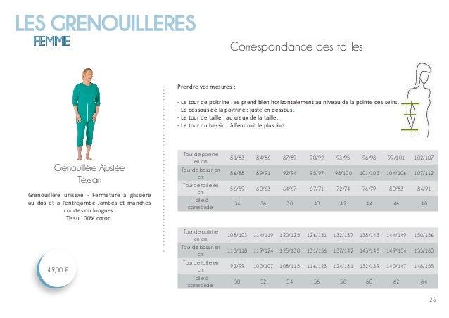 LES GRENOUILLERES FEMME 26 Grenouillère Ajustée Texsan 49,00 € Grenouillère unisexe - Fermeture à glissière au dos et à l'...