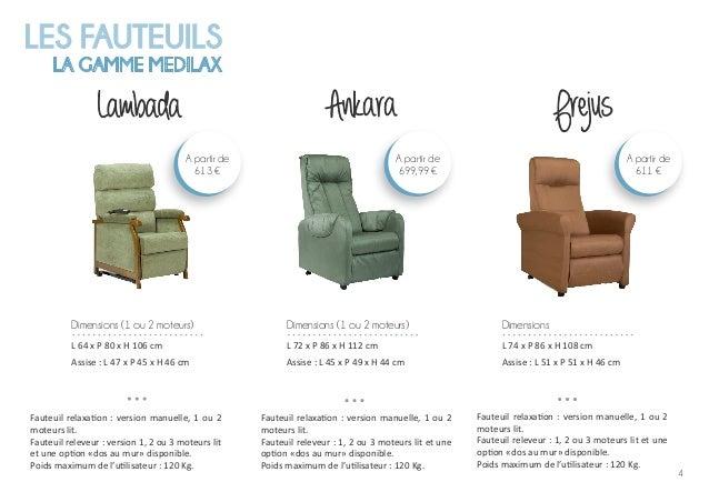 4 LES FAUTEUILS LA GAMME MEDILAX Lambada Fauteuil relaxation : version manuelle, 1 ou 2 moteurs lit. Fauteuil releveur : v...