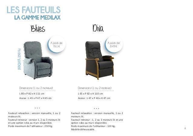 6 LES FAUTEUILS LA GAMME MEDILAX Blues Fauteuil relaxation : version manuelle, 1 ou 2 moteurs lit. Fauteuil releveur : ver...
