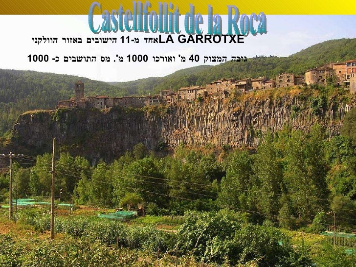 Castellfollit de la Roca אחד מ -11  הישובים באזור הוולקני  LA GARROTXE   גובה המצוק  40  מ '  ואורכו  1000  מ '.  מס התושב...