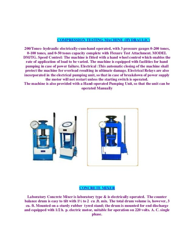 COMPRESSION TESTING MACHINE (HYDRAULIC)200/Tones- hydraulic electrically-cum-hand operated, with 3 pressure gauges 0-200 t...