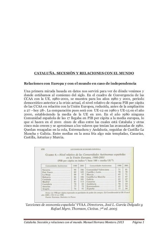 Cataluña. Secesión y relaciones con el mundo. Manuel Herranz Montero. 2013 Página 1 CATALUÑA. SECESIÓN Y RELACIONES CON EL...