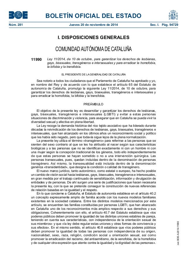 BOLETÍN OFICIAL DEL ESTADO Núm. 281 Jueves 20 de noviembre de 2014 Sec. I. Pág. 94729 I. DISPOSICIONES GENERALES COMUNID...