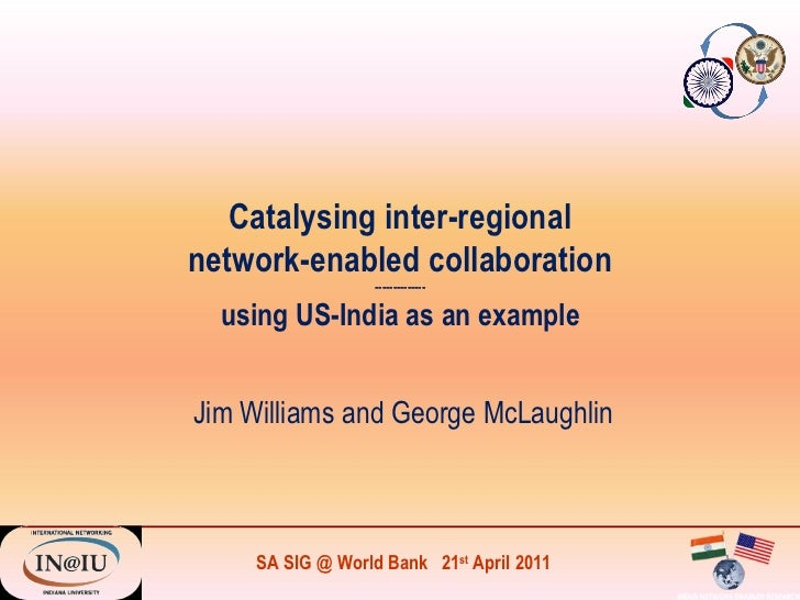 Catalysing inter-regional network-enabled collaboration -------------- using US-India as an example Jim Williams and Georg...