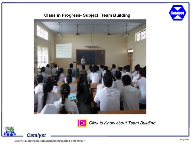 Class in Progress- Subject: Team Building                     Click to Know about Team Building                           ...