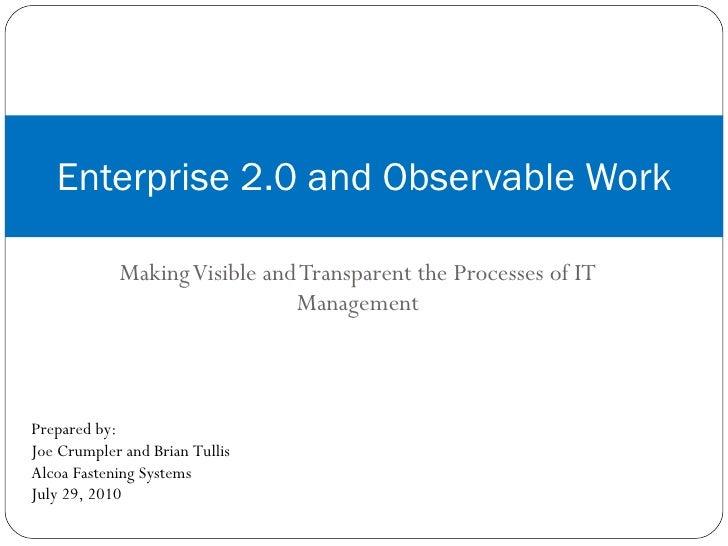 Catalyst 2010 Presentation - Enterprise 2.0 and Observable Work