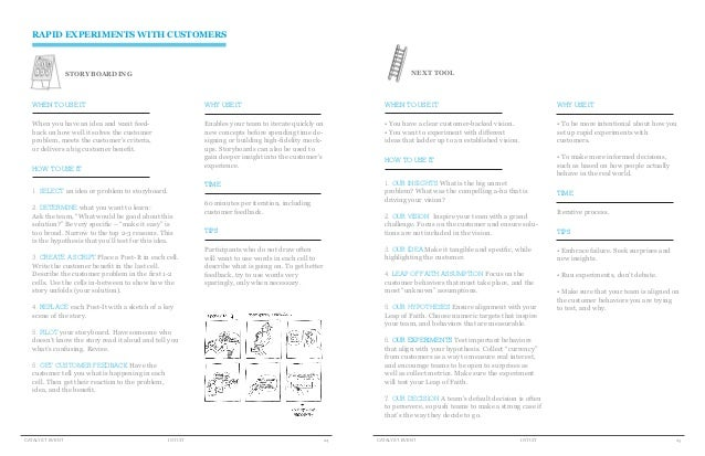 RAPID EXPERIMENTS WITH CUSTOMERS                 STORYBOARDING                                                            ...