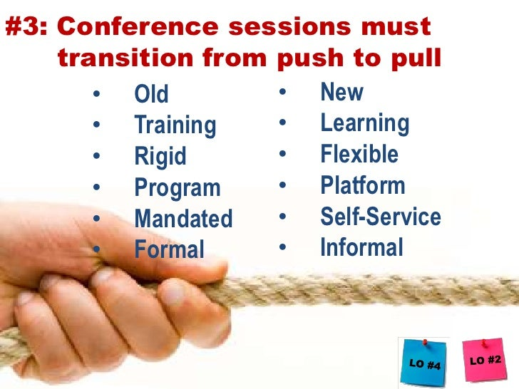 2) Identify 5 principles for redesigning learning elements during conferences<br />
