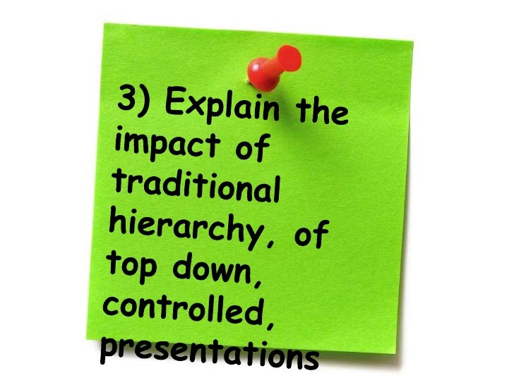 3) Explain the impact of traditional hierarchy, of top down, controlled, presentations<br />