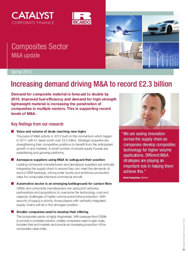 Composites Sector M&A update Spring 2013  Increasing demand driving M&A to record £2.3 billion Demand for composite materi...