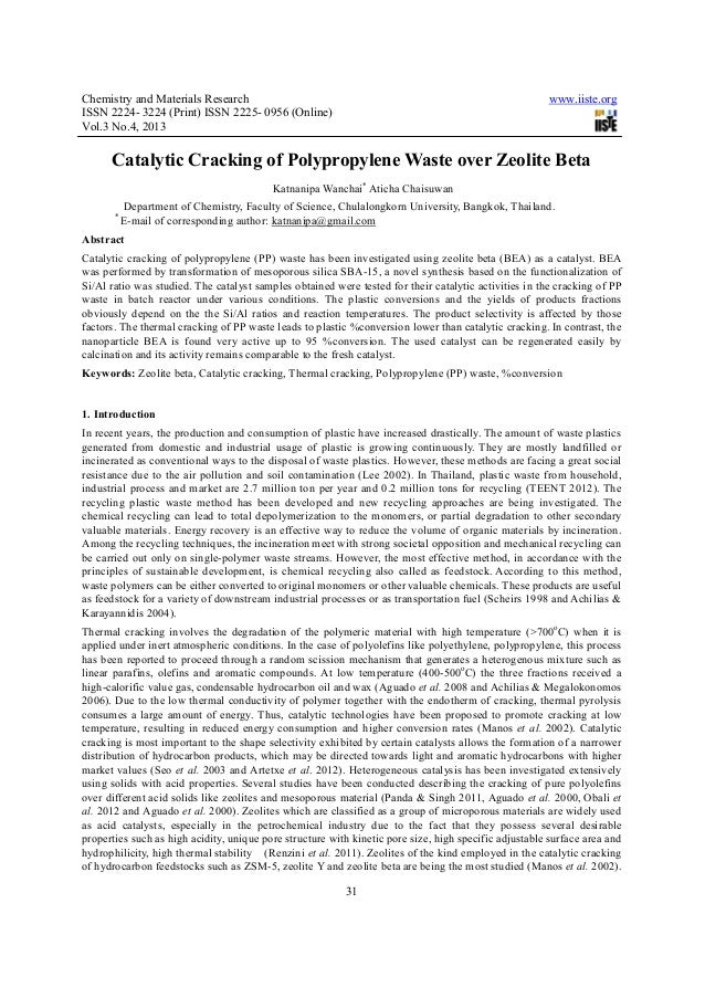 Chemistry and Materials Research www.iiste.orgISSN 2224- 3224 (Print) ISSN 2225- 0956 (Online)Vol.3 No.4, 201331Catalytic ...
