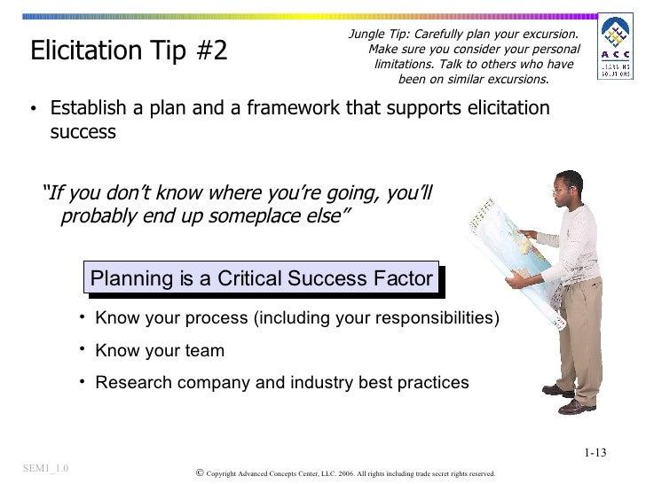 "<ul><li>Establish a plan and a framework that supports elicitation success </li></ul>Elicitation Tip #2 "" If you don't kno..."