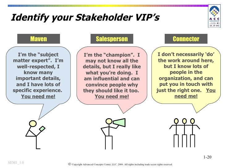 """Identify your Stakeholder VIP's I'm the """"subject matter expert"""".  I'm well-respected, I know many important details, and I..."""