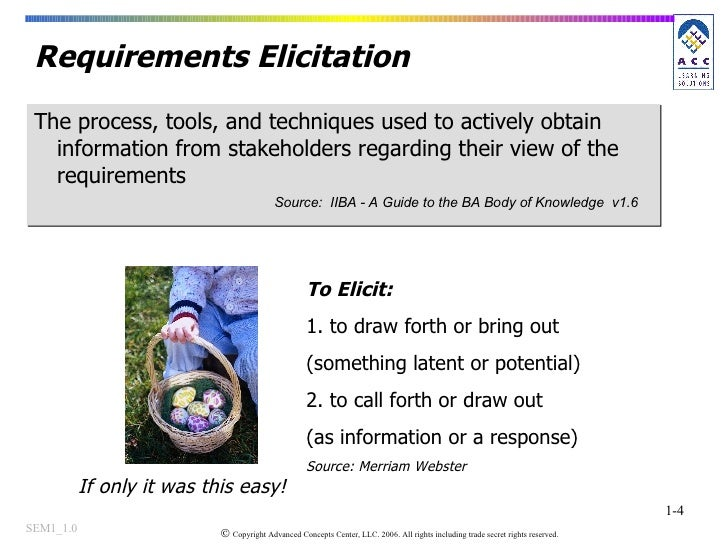 Requirements Elicitation The process, tools, and techniques used to actively obtain information from stakeholders regardin...