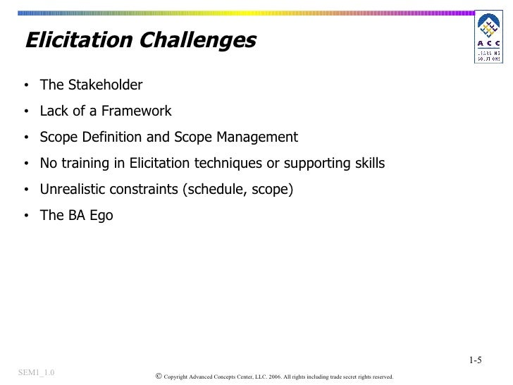 Elicitation Challenges <ul><li>The Stakeholder  </li></ul><ul><li>Lack of a Framework </li></ul><ul><li>Scope Definition a...