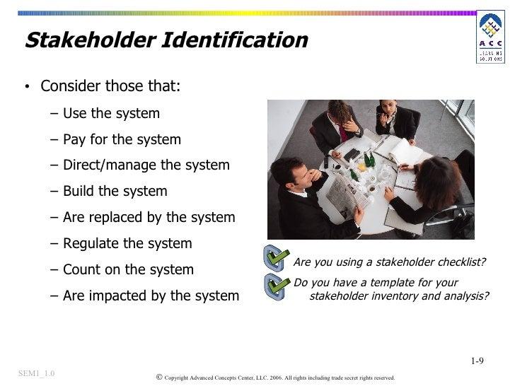 Stakeholder Identification <ul><li>Consider those that: </li></ul><ul><ul><li>Use the system </li></ul></ul><ul><ul><li>Pa...