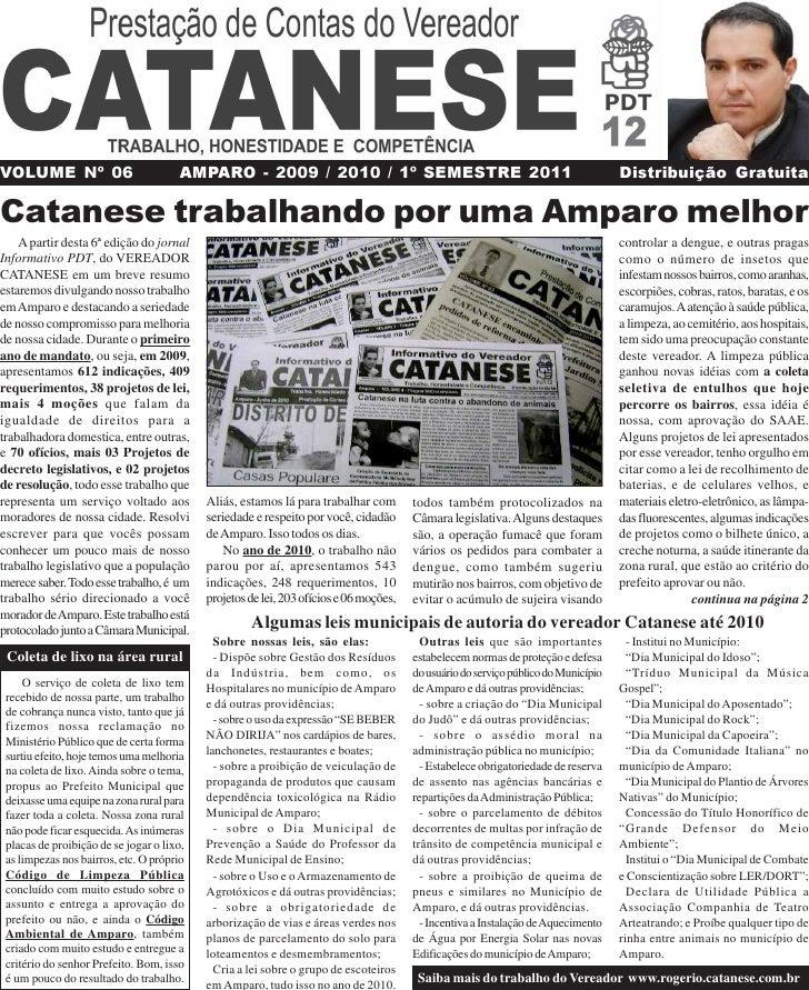 VOLUME Nº 06                           AMPARO - 2009 / 2010 / 1º SEMESTRE 2011                                            ...