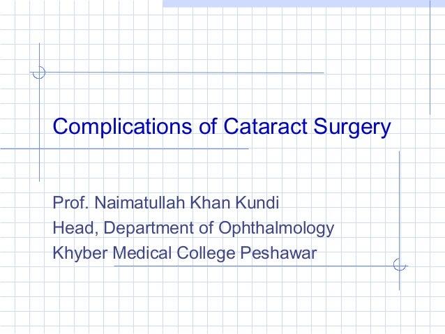 Complications of Cataract Surgery Prof. Naimatullah Khan Kundi Head, Department of Ophthalmology Khyber Medical College Pe...