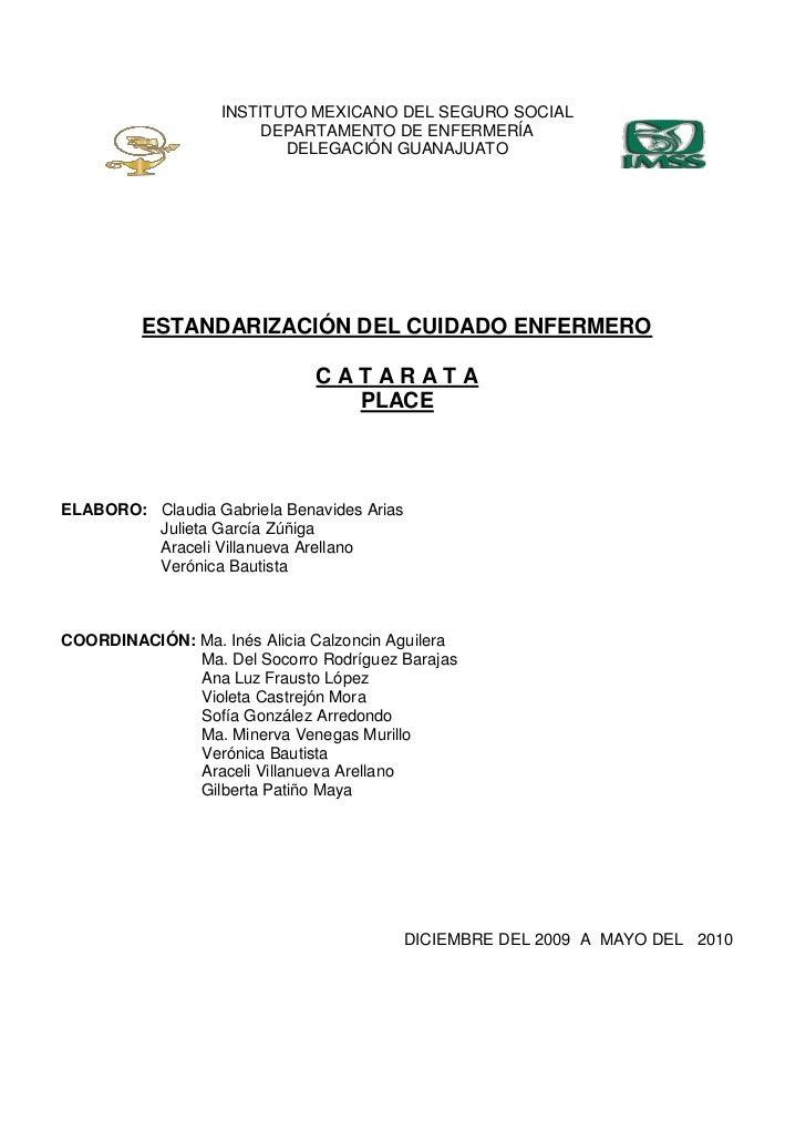 INSTITUTO MEXICANO DEL SEGURO SOCIAL                        DEPARTAMENTO DE ENFERMERÍA                          DELEGACIÓN...
