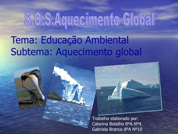 Tema: Educação Ambiental Subtema: Aquecimento global S.O.S.Aquecimento Global Trabalho elaborado por: Catarina Botelho 8ºA...
