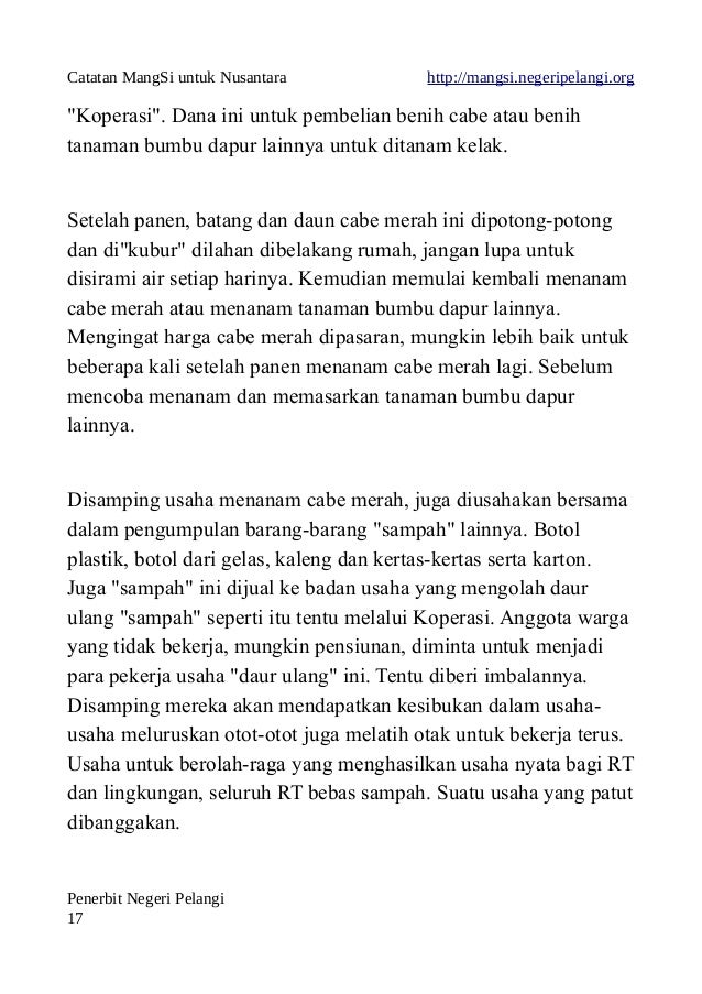 """Catatan MangSi untuk Nusantara http://mangsi.negeripelangi.org """"Koperasi"""". Dana ini untuk pembelian benih cabe atau benih ..."""