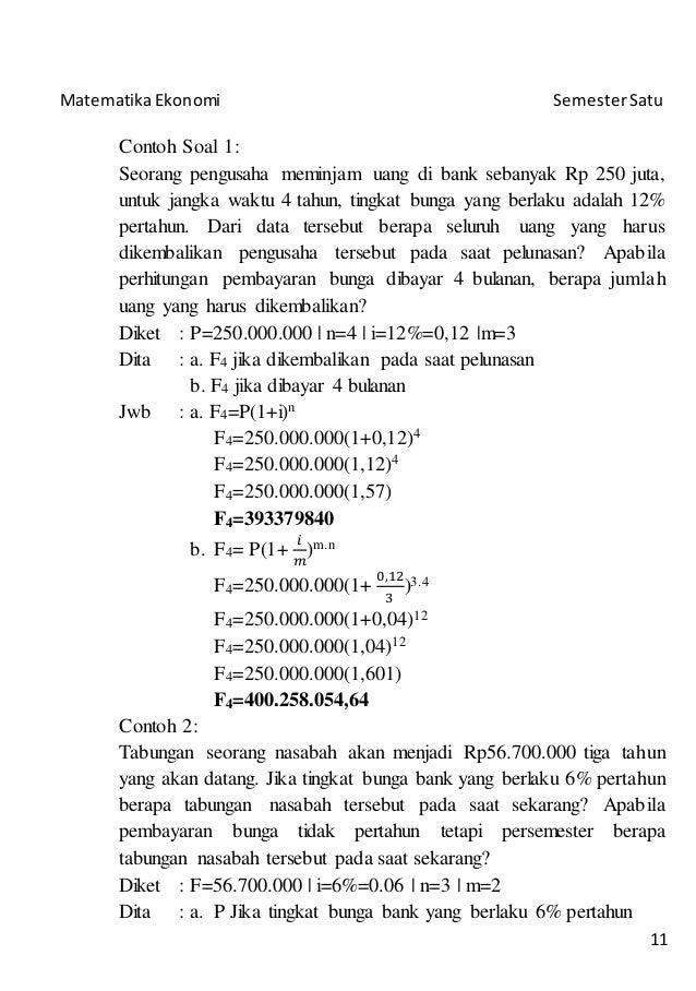 Catatan Matematika Ekonomi