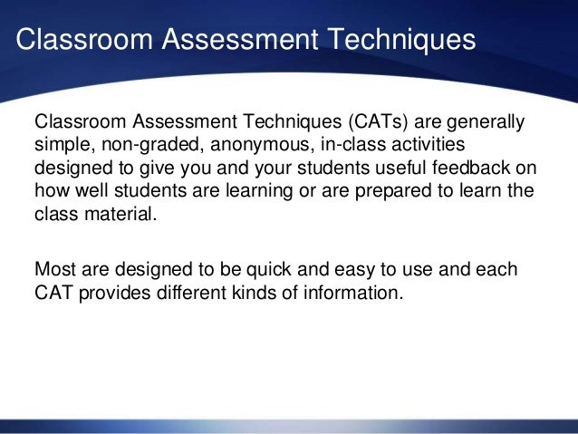 Innovative Classroom Assessment Techniques ~ Classroom assessment techniques