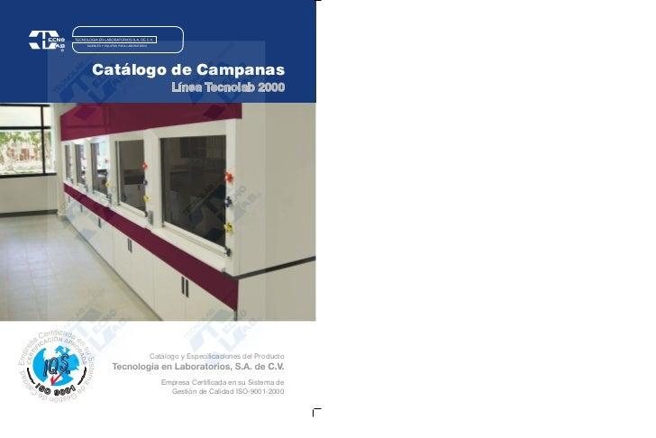 Catálogo de Campanas           Línea Tecnolab 2000     Catálogo y Especificaciones del Producto        Empresa Certificada...