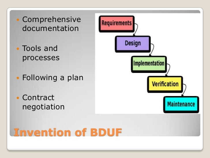    Comprehensive    documentation   Tools and    processes   Following a plan   Contract    negotiationInvention of BDUF