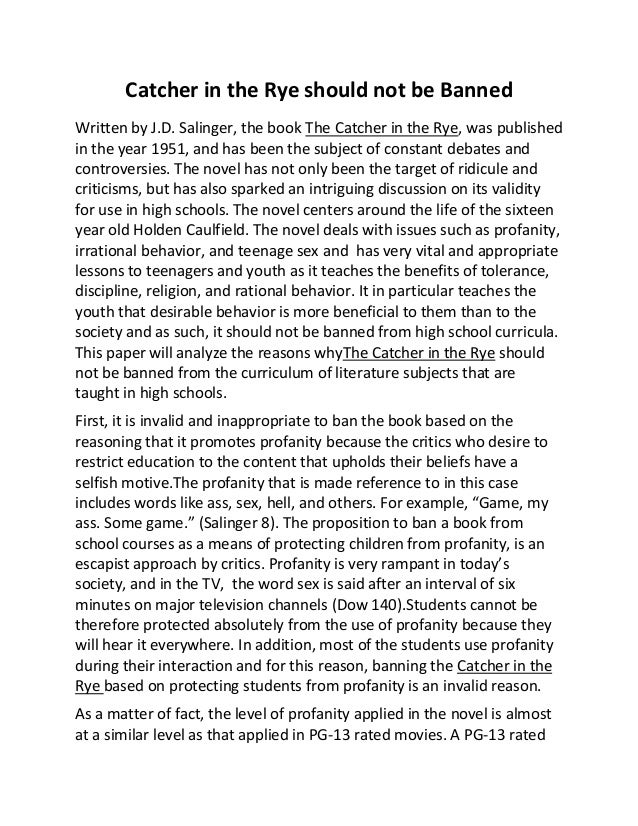 The catcher in the rye censorship essay