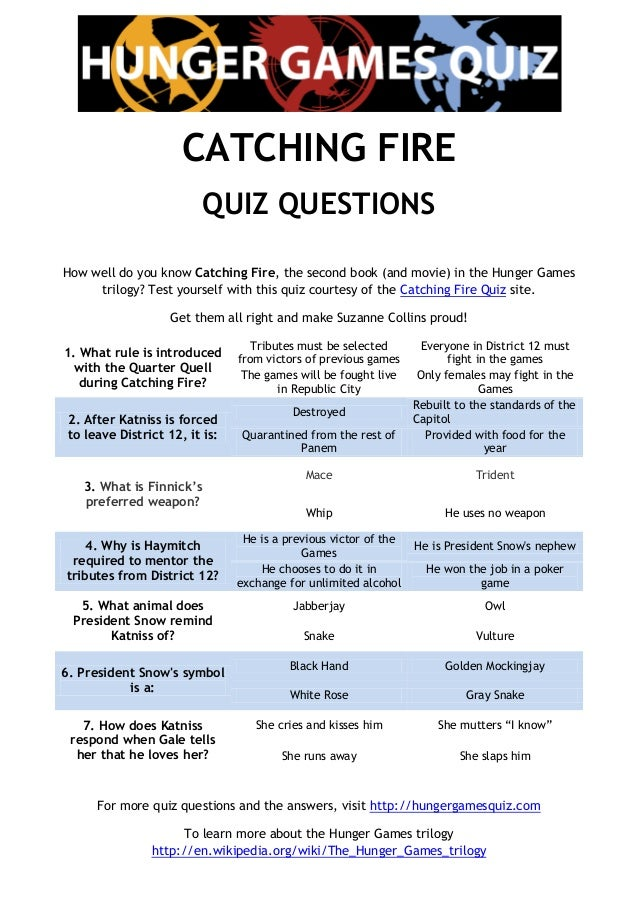 The Catching Fire Quiz: 9 questions by Kimberleigh