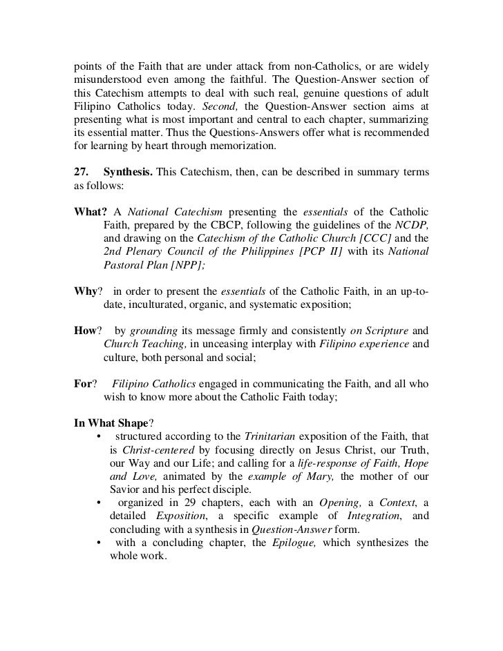 an overview of the catholic catechism The catechism of the catholic church is a summary of doctrine that outlines the principles and teachings of the catholic church its second edition, first published.