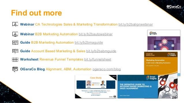 Find out more Webinar CA Technologies Sales & Marketing Transformation bit.ly/b2balignwebinar Webinar B2B Marketing Automa...
