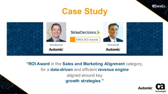 """""""ROI Award in the Sales and Marketing Alignment category, for a data-driven and efficient revenue engine aligned around ke..."""