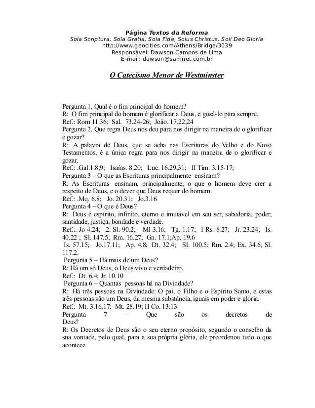 Página Textos da Reforma Sola Scriptura, Sola Gratia, Sola Fide, Solus Christus, Soli Deo Gloria http://www.geocities.com/...