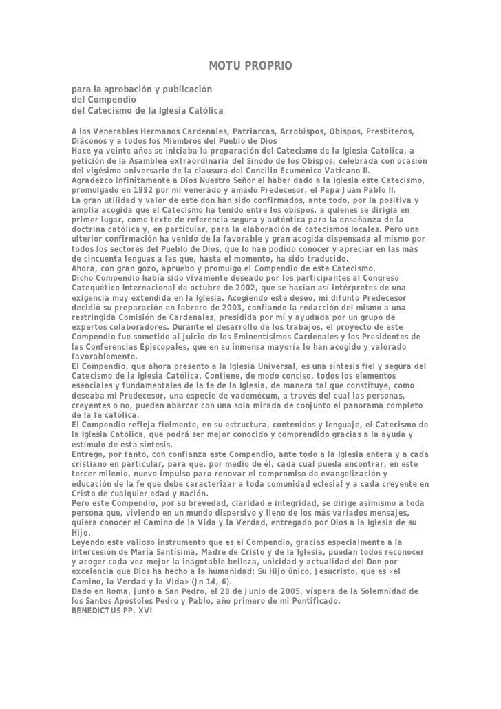 MOTU PROPRIO para la aprobación y publicación del Compendio del Catecismo de la Iglesia Católica  A los Venerables Hermano...