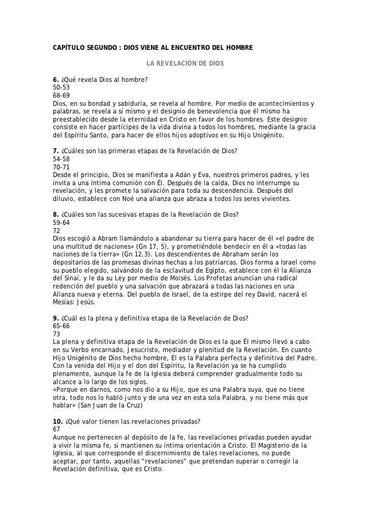 CAPÍTULO SEGUNDO : DIOS VIENE AL ENCUENTRO DEL HOMBRE                                LA REVELACIÓN DE DIOS  6. ¿Qué revela...