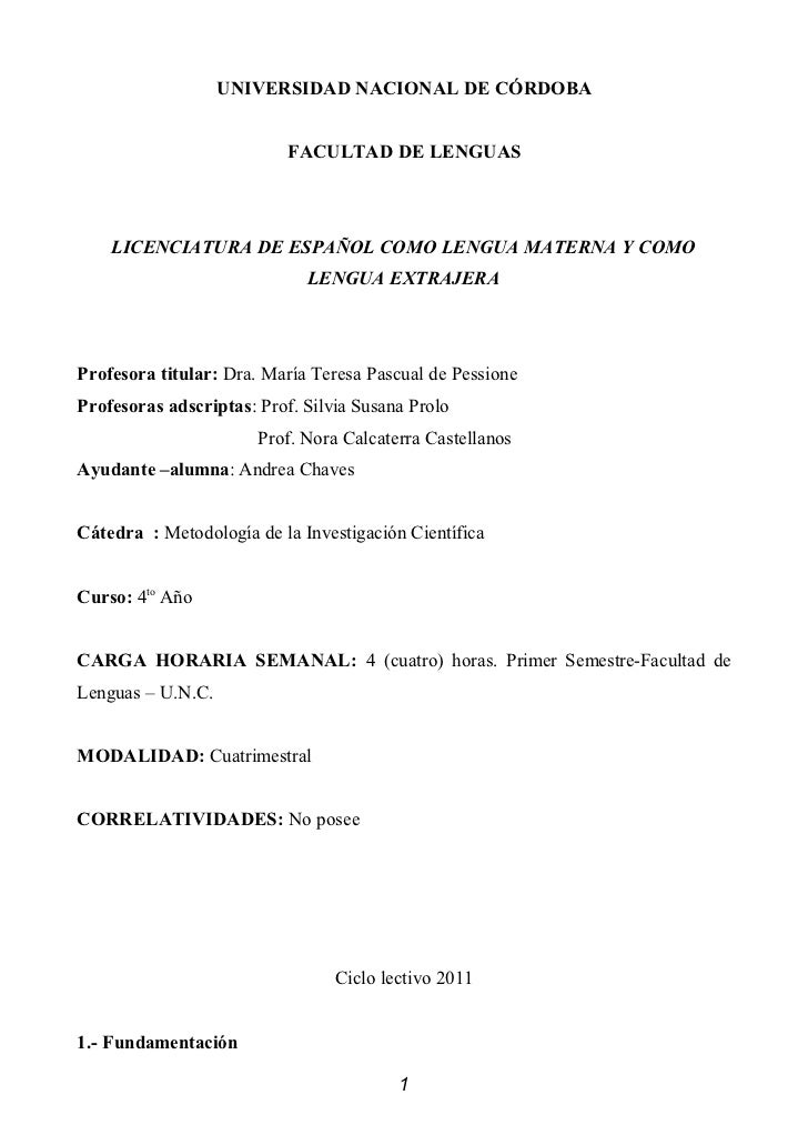 UNIVERSIDAD NACIONAL DE CÓRDOBA                           FACULTAD DE LENGUAS    LICENCIATURA DE ESPAÑOL COMO LENGUA MATER...