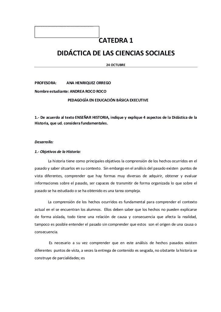CATEDRA 1              DIDÁCTICA DE LAS CIENCIAS SOCIALES                                           24 OCTUBREPROFESORA:  ...