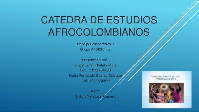 CATEDRA DE ESTUDIOS AFROCOLOMBIANOS Trabajo Colaborativo 3 Grupo 446001_33 Presentado por: Cindy Janeth Pulido Nivia Cód.....