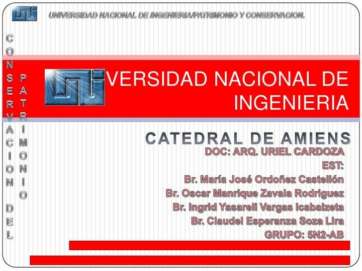 CONSERVACION DEL PATRIMONIO<br />UNIVERSIDAD NACIONAL DE INGENIERIA/PATRIMONIO Y CONSERVACION.<br />UNIVERSIDAD NACIONAL D...