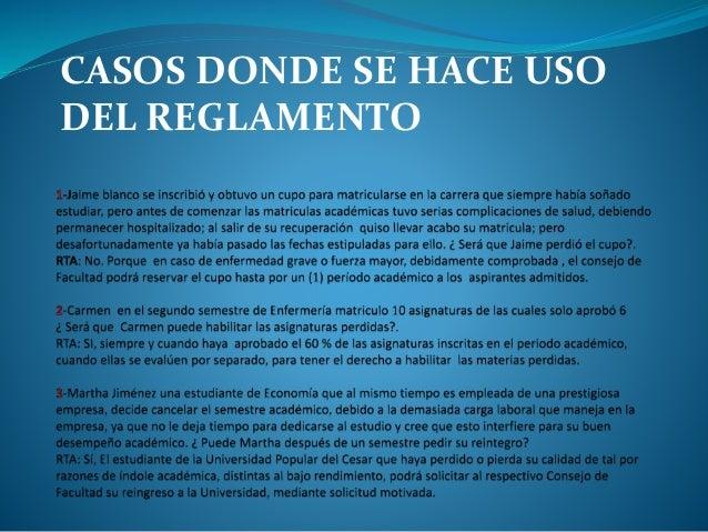 CASOS DONDE SE HACE USO  DEL REGLAMENTO