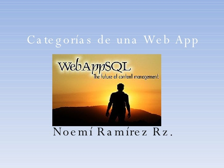 Categorías de una Web App Noemí Ramírez Rz.