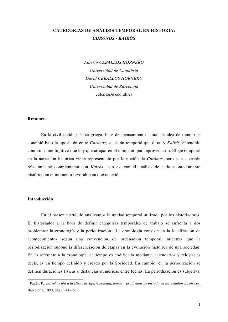 CATEGORIAS DE ANÁLISIS TEMPORAL EN HISTORIA:                                             CHRÓNOS - KAIRÓS                 ...