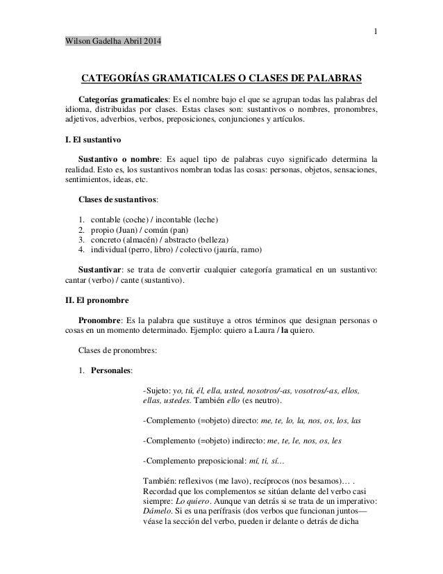 1 Wilson Gadelha Abril 2014 CATEGORÍAS GRAMATICALES O CLASES DE PALABRAS Categorías gramaticales: Es el nombre bajo el que...