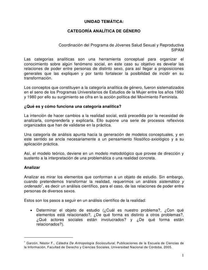 UNIDAD TEMÁTICA:                           CATEGORÍA ANALÍTICA DE GÉNERO                      Coordinación del Programa de...